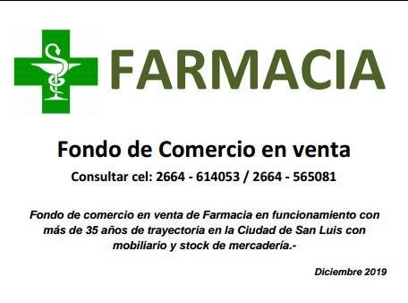 FARMACIA EN VENTA 28 DE OCTUBRE 2019